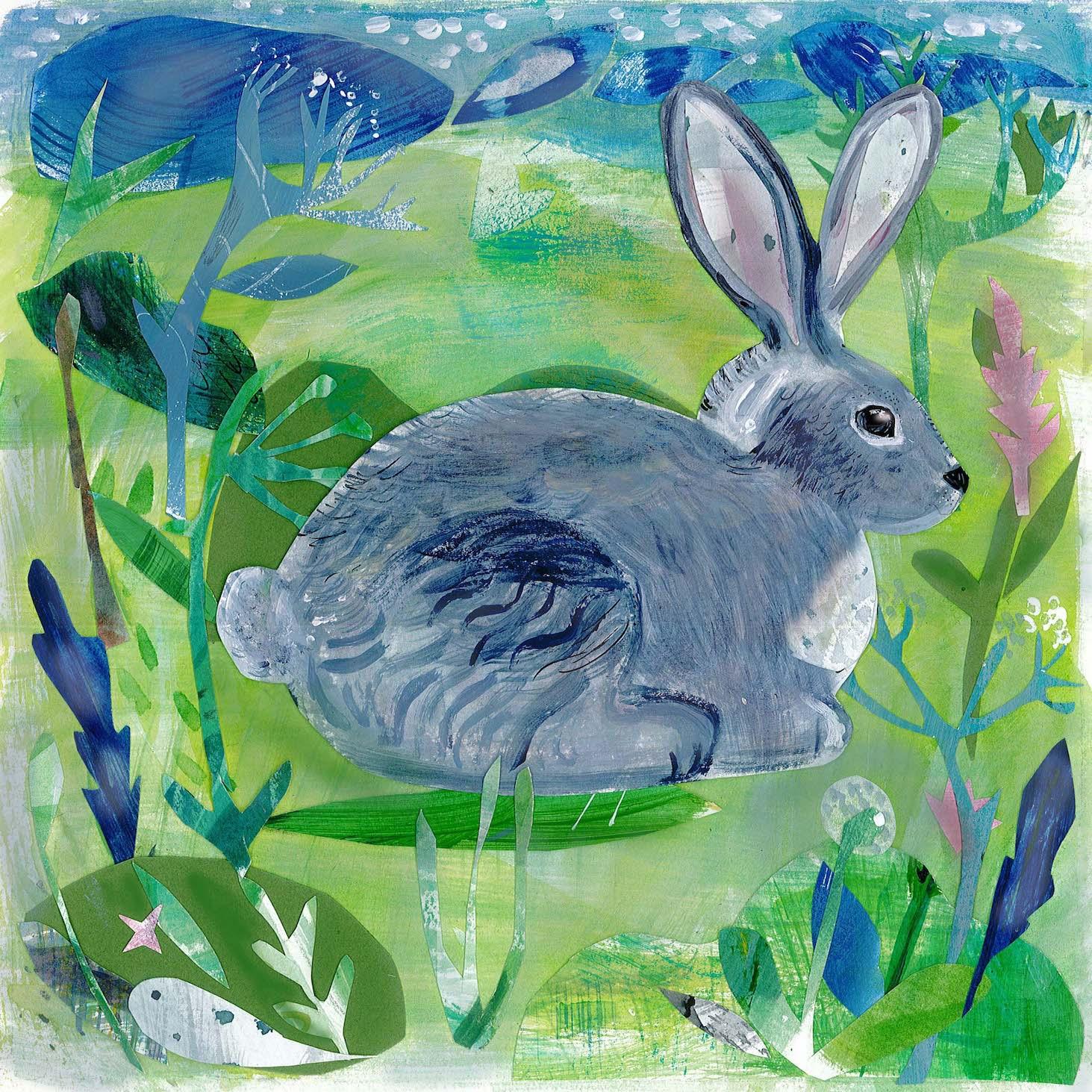 Spring Rabbit  mixed media  30 x 30cm  £180 framed