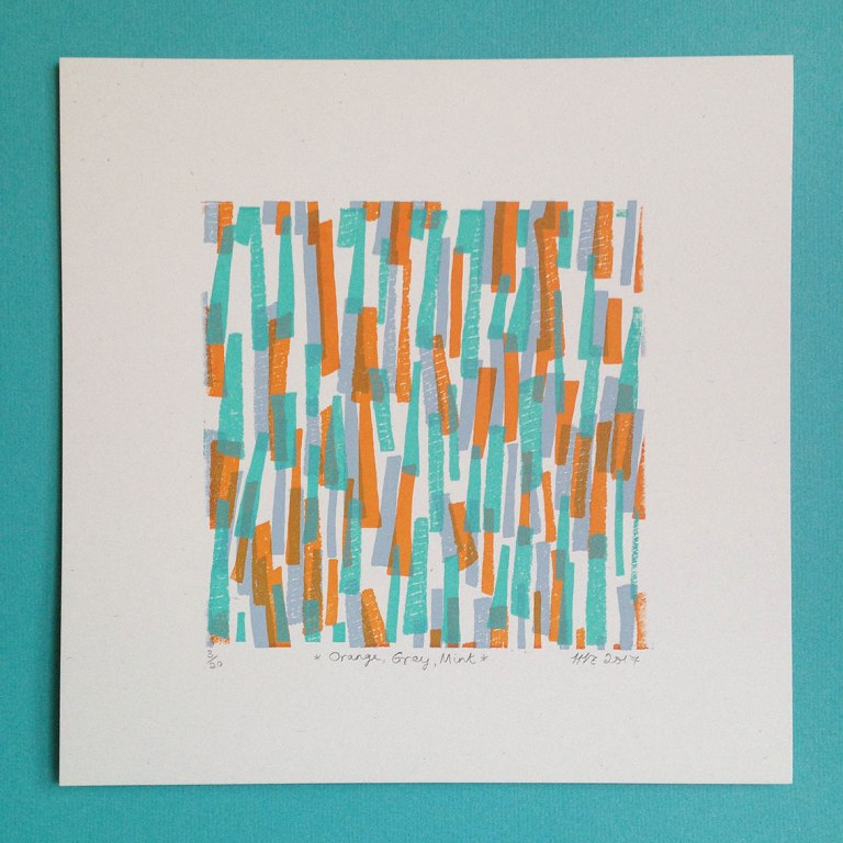 Orange, Grey, Mint  screenprint  13 x 13cm  £25 (unframed)  £5 to be donated to   equalitynow.org .
