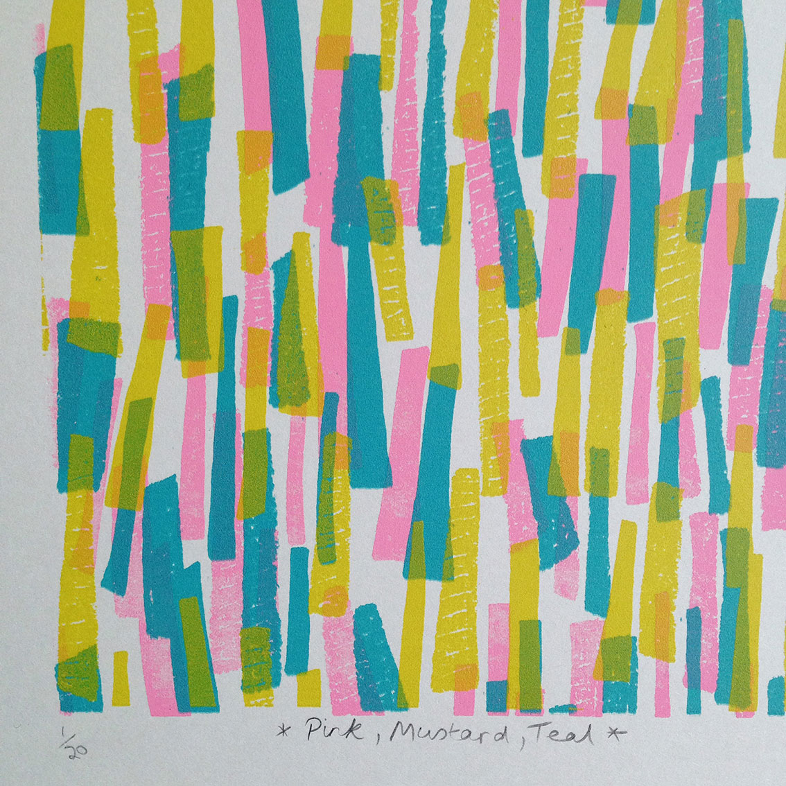 Pink, Mustard, Teal  screenprint  13 x 13cm  £25 (unframed)  £5 to be donated to   equalitynow.org .