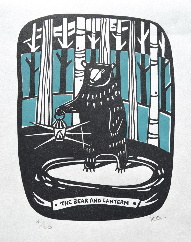 The Bear and Lantern  Linocut on Japanese paper  image size: 18.5cm x 14cm  WAS £45  NOW £20
