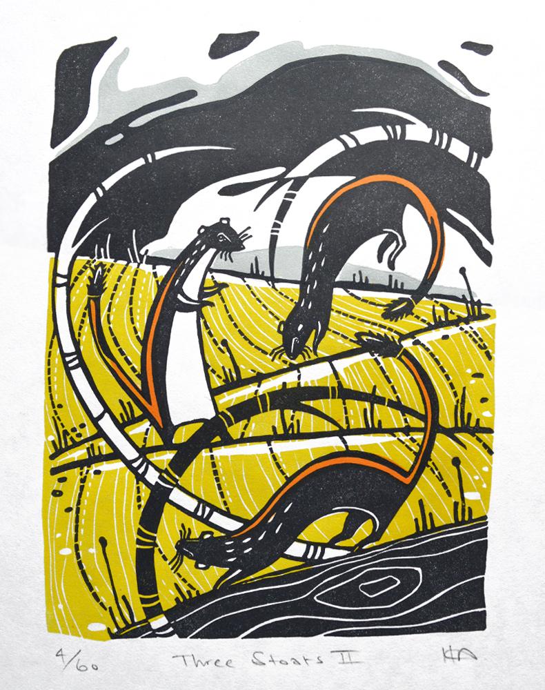 Three Stoats II  Linocut on Japanese paper  image size: 19cm x 14cm  £60 unframed