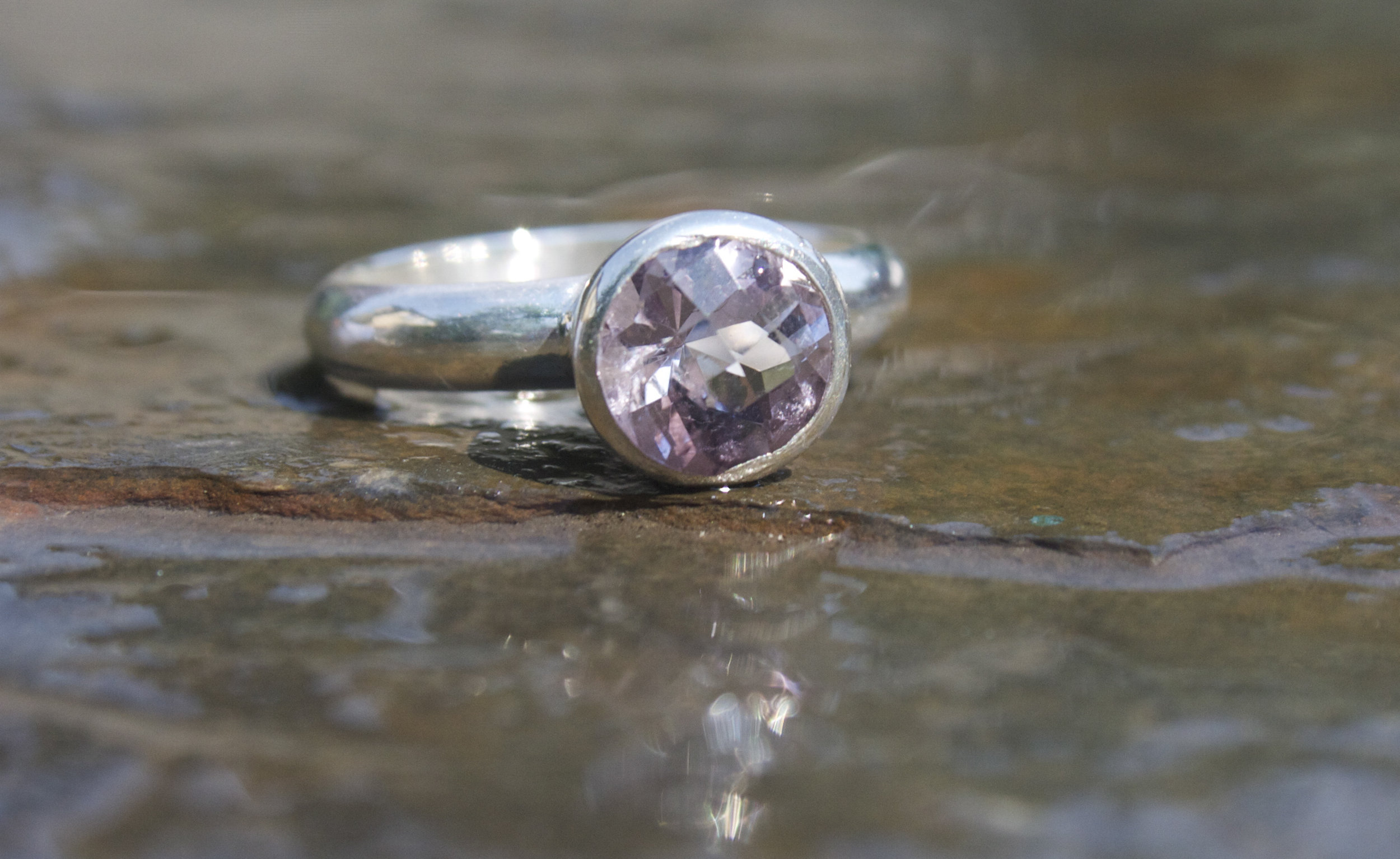 Lavender Amethyst Faceted Sterling Silver Ring  £165