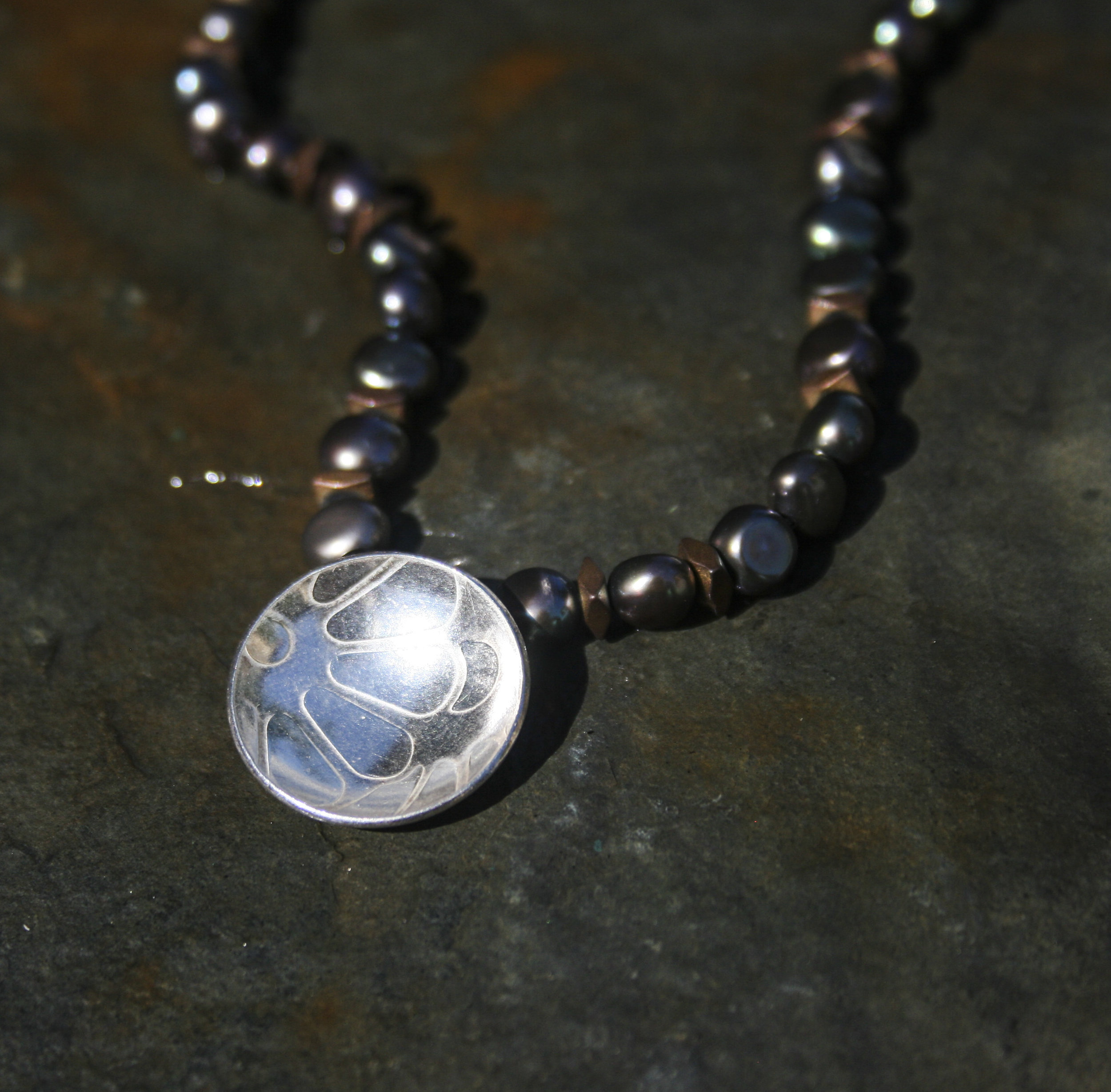 Meadow Disc on Silk Knotted Pearls  £95