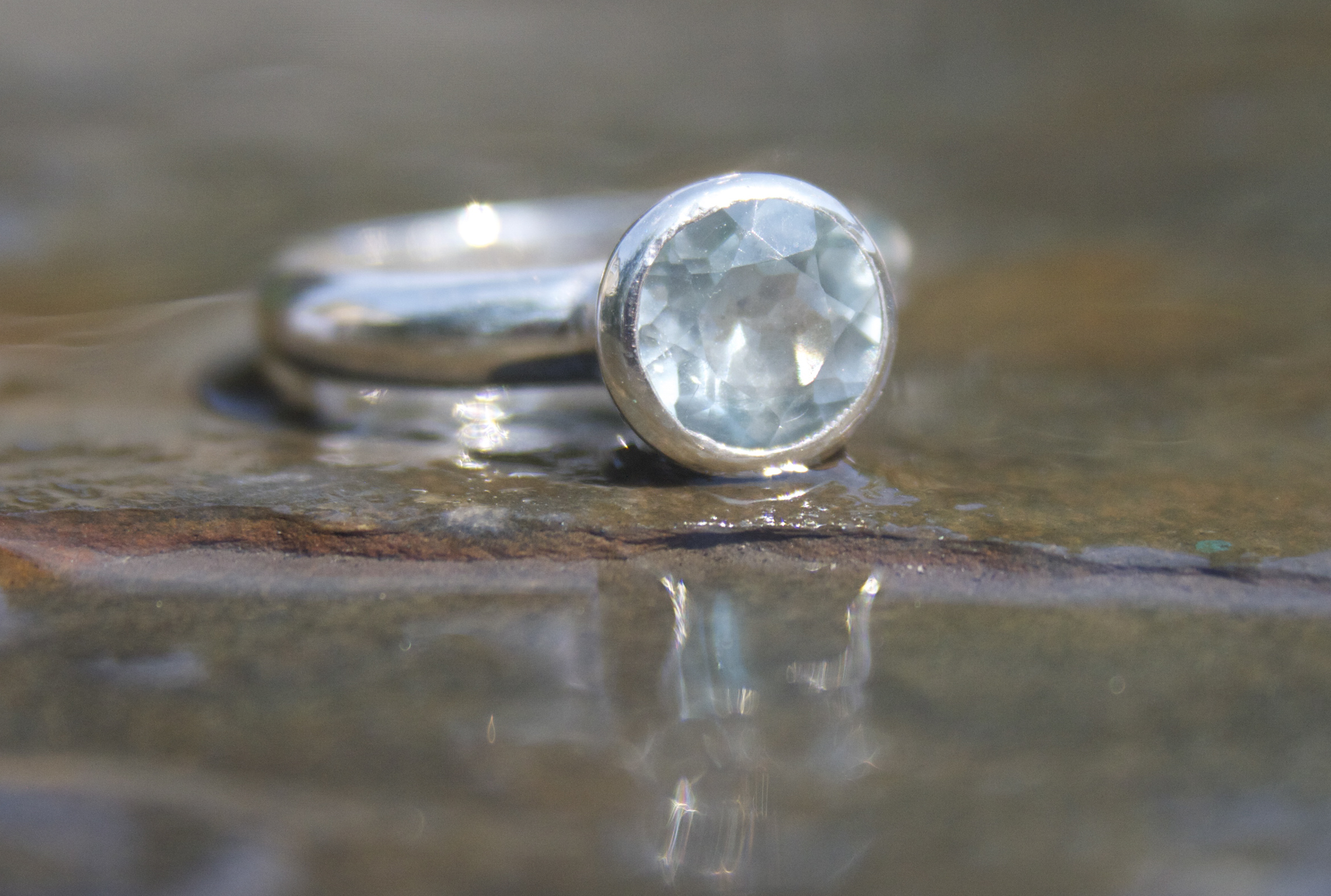 Sky Blue Topaz Faceted Sterling Silver Ring  £165