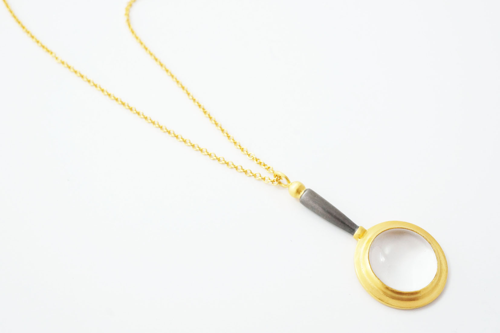 Magnifying Glass Pendant  18ct Gold Vermeil and Black Rhodium Plated Sterling Silver  £218