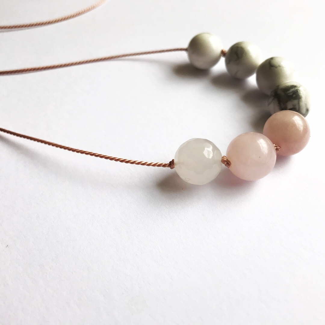 Howlite, rose quartz (one faceted) on silk necklace  stone diameter 10 mm  silk length 960 mm  £15