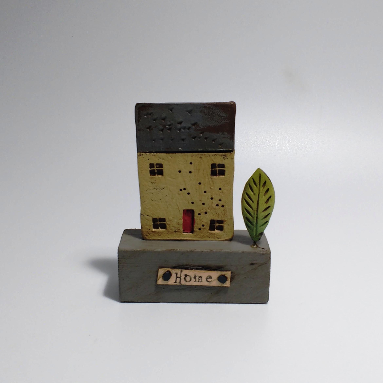 1 House & Tree  Ceramic on Wooden Plinth  £22.50