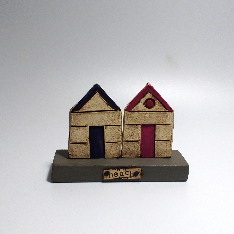 2 Beach Huts (1)  Ceramic on Wooden Plinth  £26.50