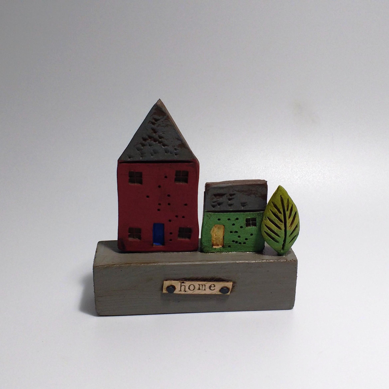 2 Houses II  Ceramic on Wooden Plinth  £26.50