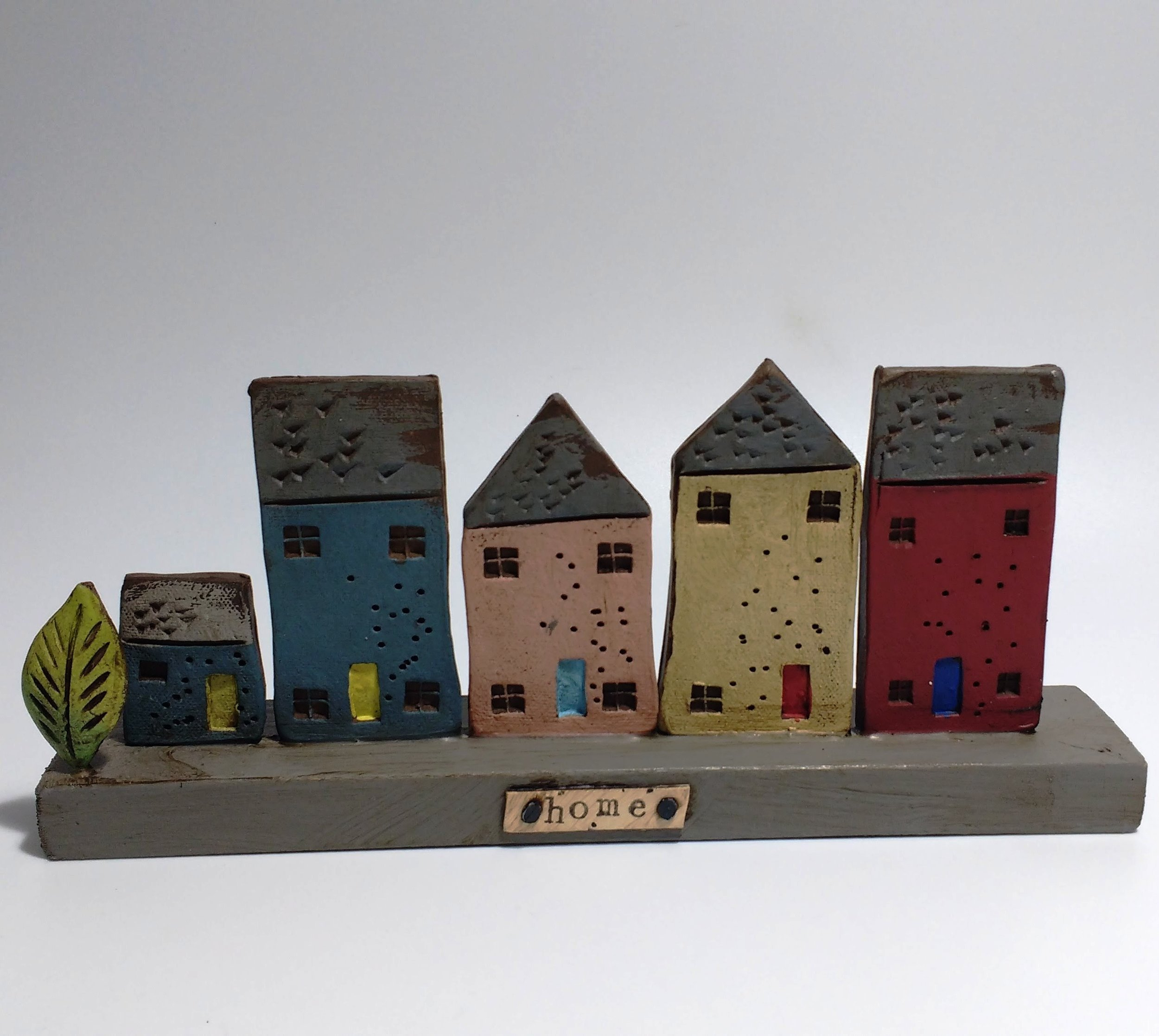 5 Houses  Ceramic on Wooden Plinth  £44