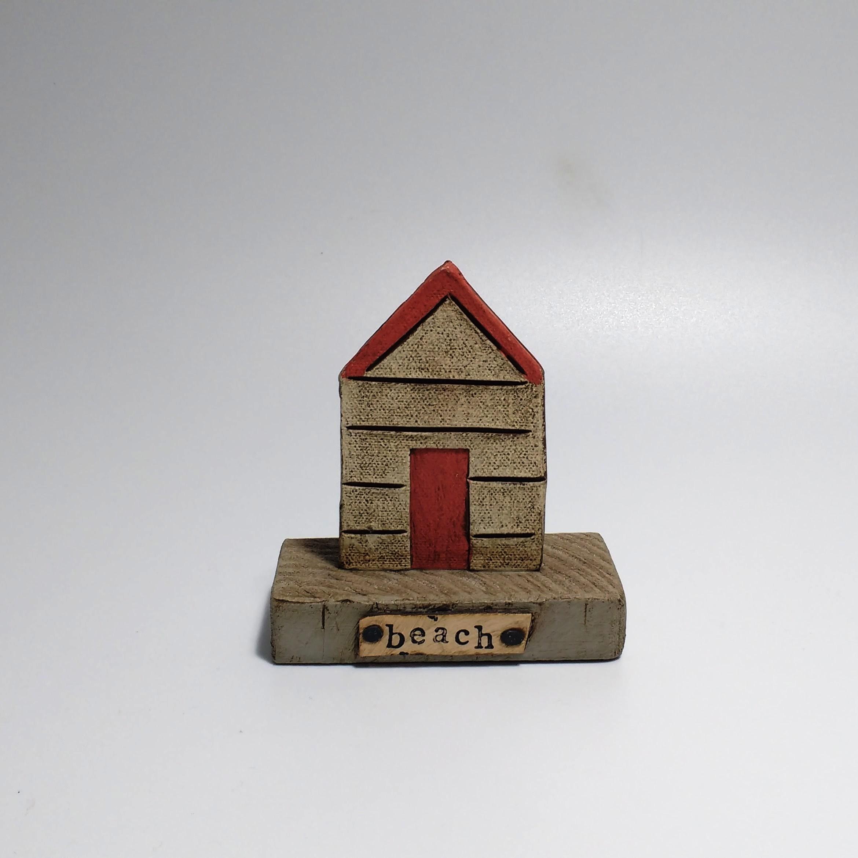 Beach Hut (1)  Ceramic on Wooden Plinth  £20.50
