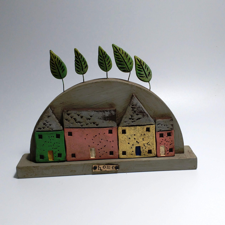 Medium Hill House  Ceramic on Wooden Plinth  £44