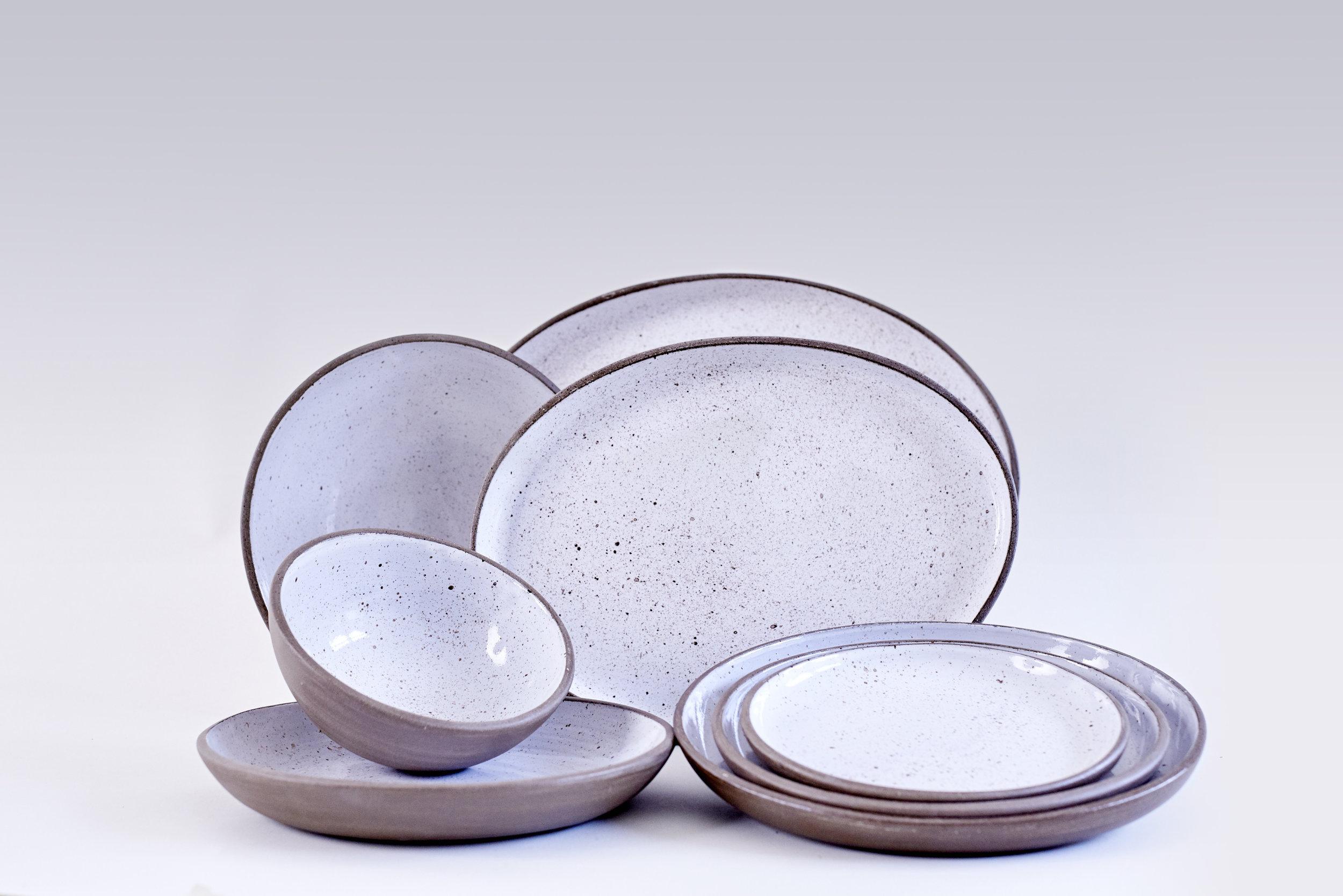 Goose Egg  Dessert Plate 18cm £27  Pasta Plate 23cm £31  Dinner Plate 25cm £35  Big Platter £70  Cereal Bowl 15cm £24  Deep Bowl 23cm £50