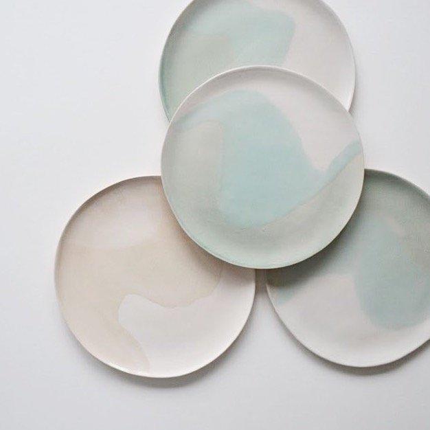 Large Glacier Plates  ceramic  3 x 25 cm approx.  £48