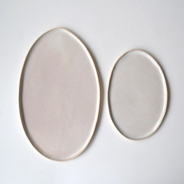 Pearl Oval Platters  ceramic  Small: 21 x 13 cm approx.   £25  Large: 33 x 20 cm approx.   £ 45