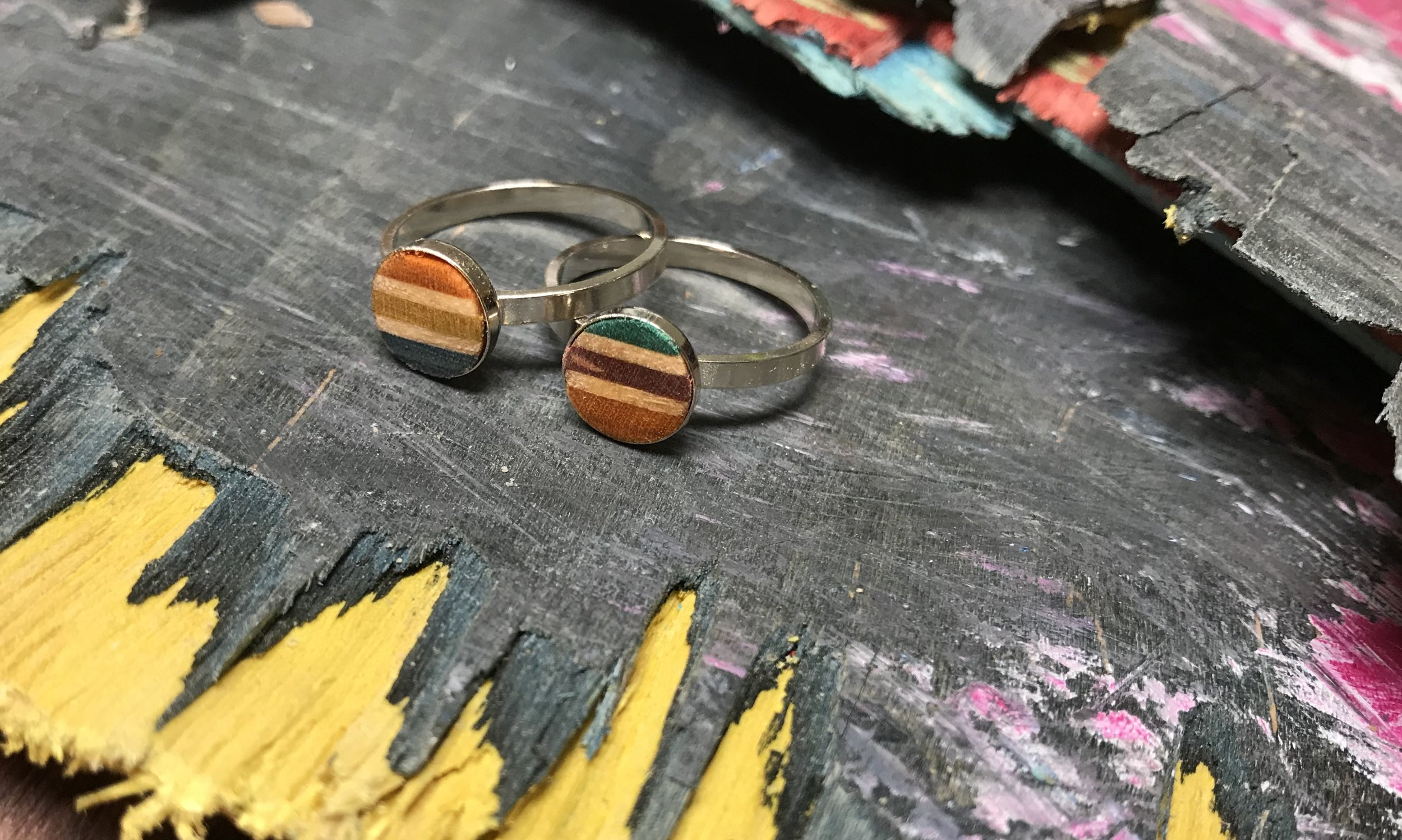 Stacker Rings  Recycled Skateboard and Sterling Silver  0.8 x 0.8 cm  £68 each