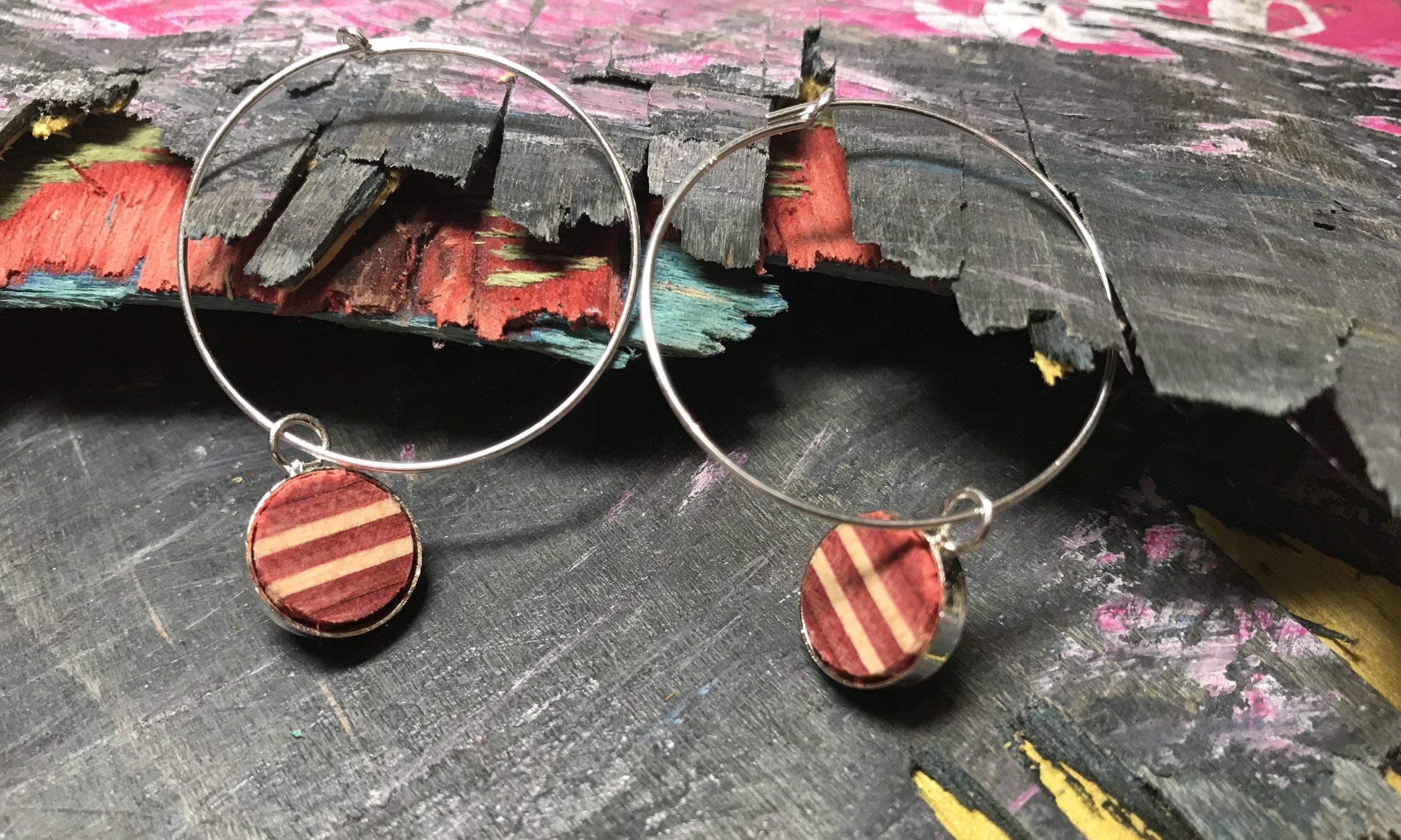 Hoop Earrings  Recycled Skateboard and Sterling Silver  1 x 1 cm, hoops 2 x 2 cm  £44