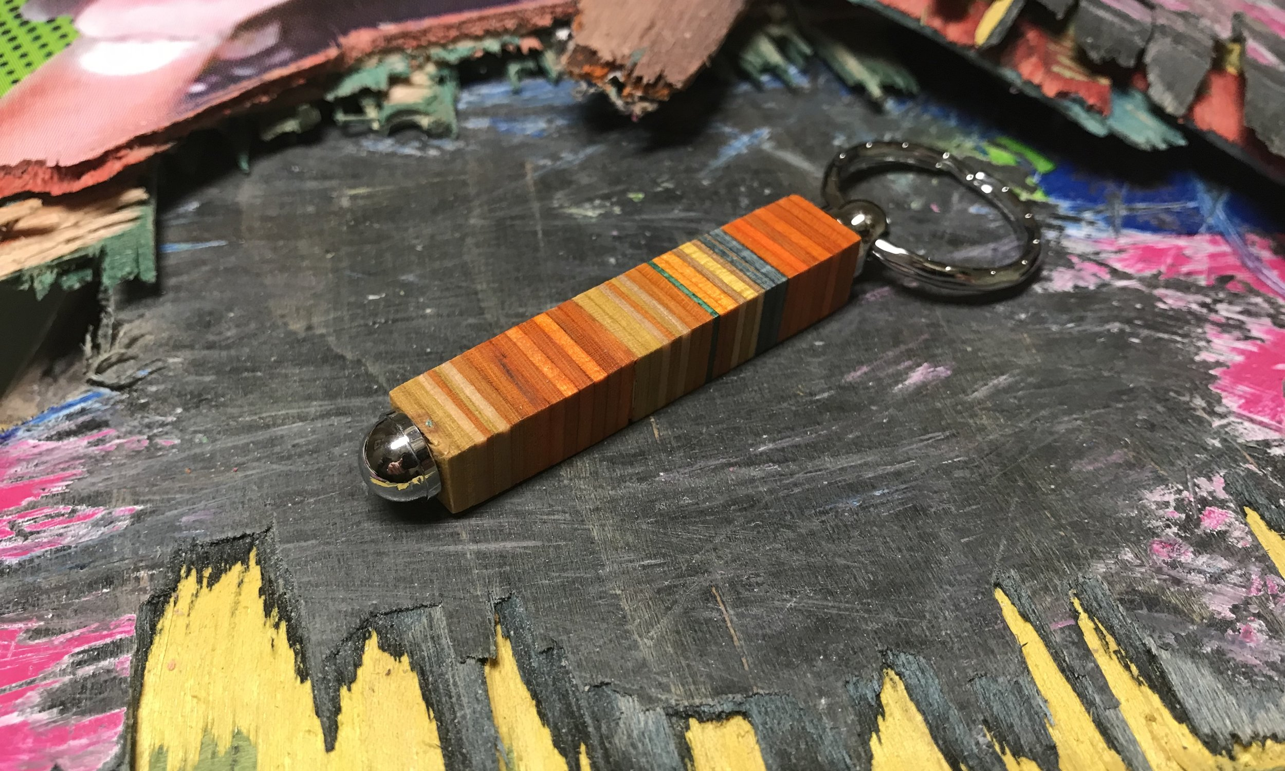 Keyring  Recycled Skateboard and chrome  £15