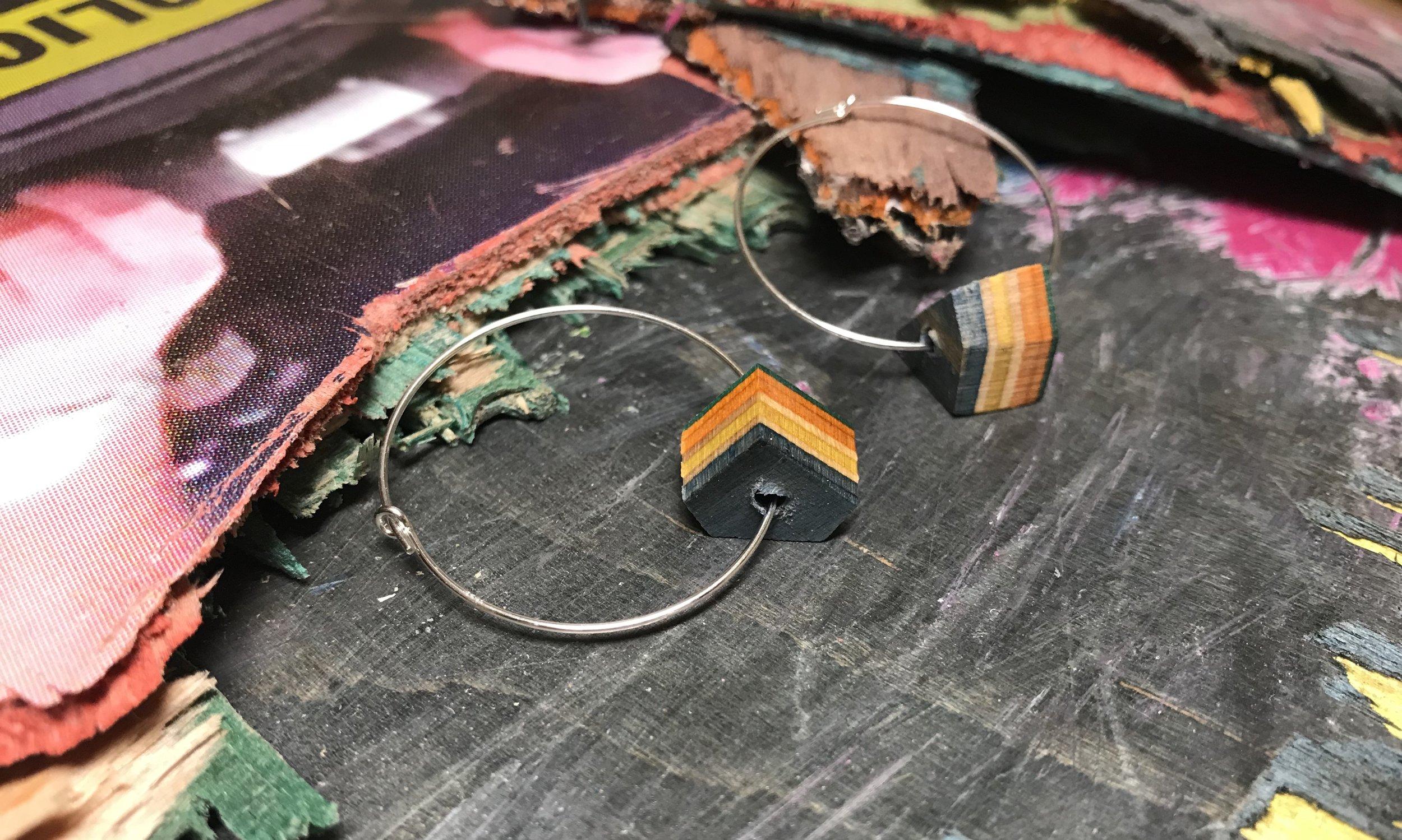 Geometric Hoop Earrings  Recycled Skateboard and Sterling Silver  1 x 1 cm, hoops 2 x 2 cm  £24