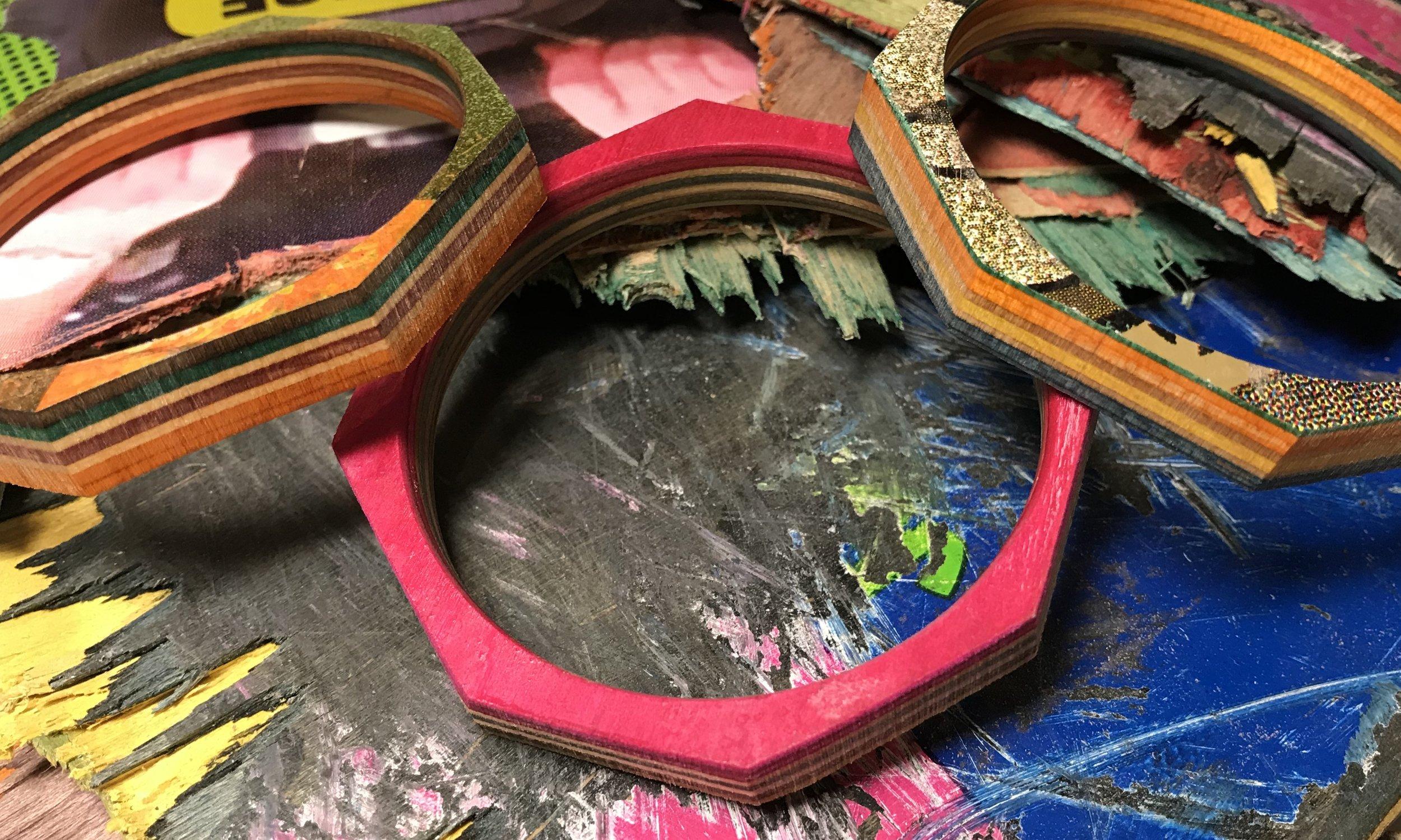 Geometric Bangles  Recycled Skateboard  8 x 8 cm, internal diameter 6.5 x 6.5 cm  £20 each