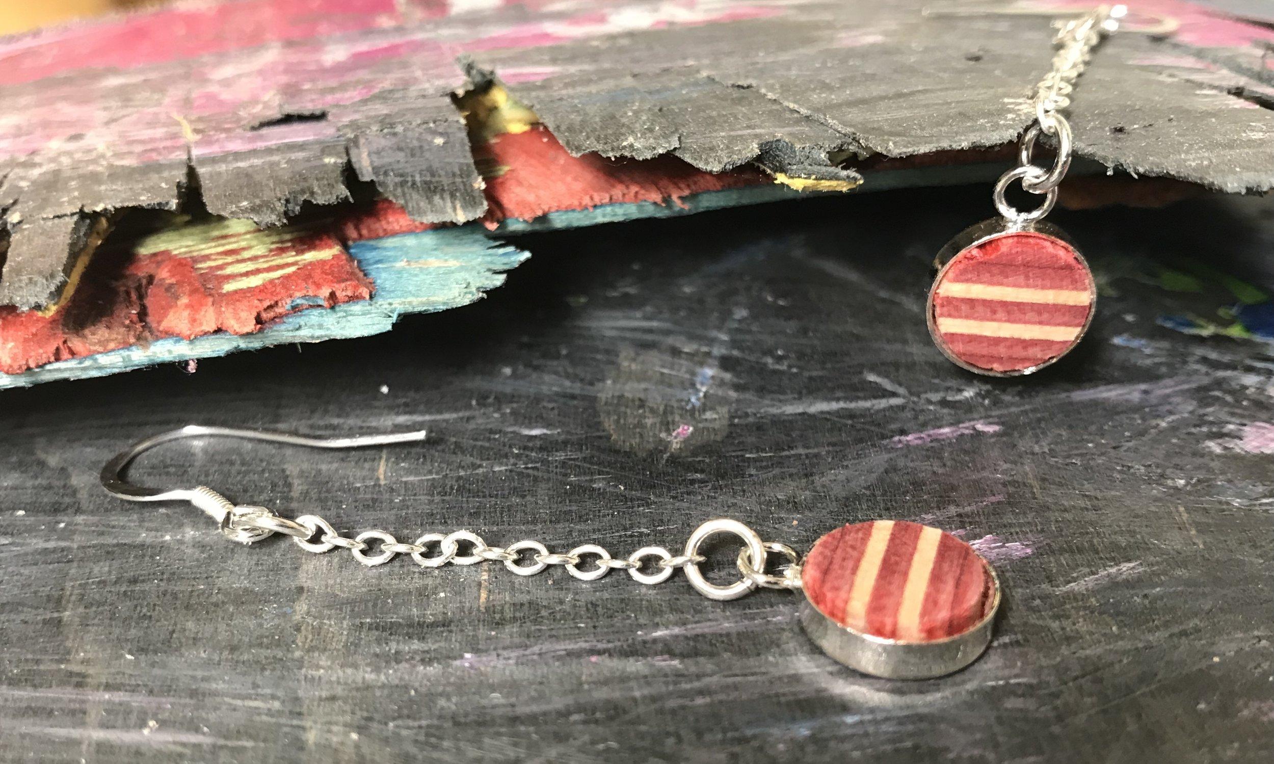 Drop Earrings  Recycled Skateboard