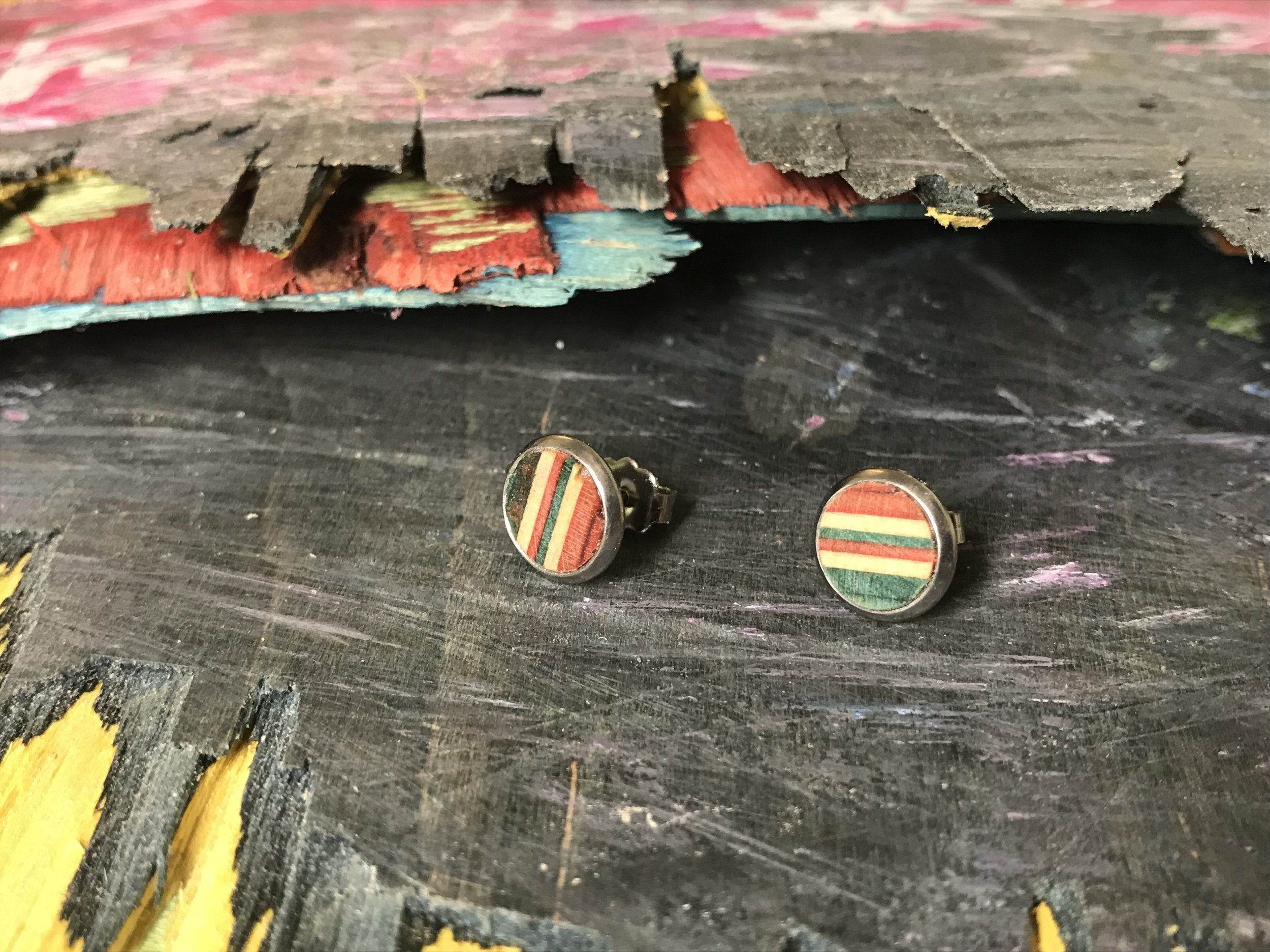 Studs  Recycled Skateboard and Sterling Silver  1 x 1 cm  £30
