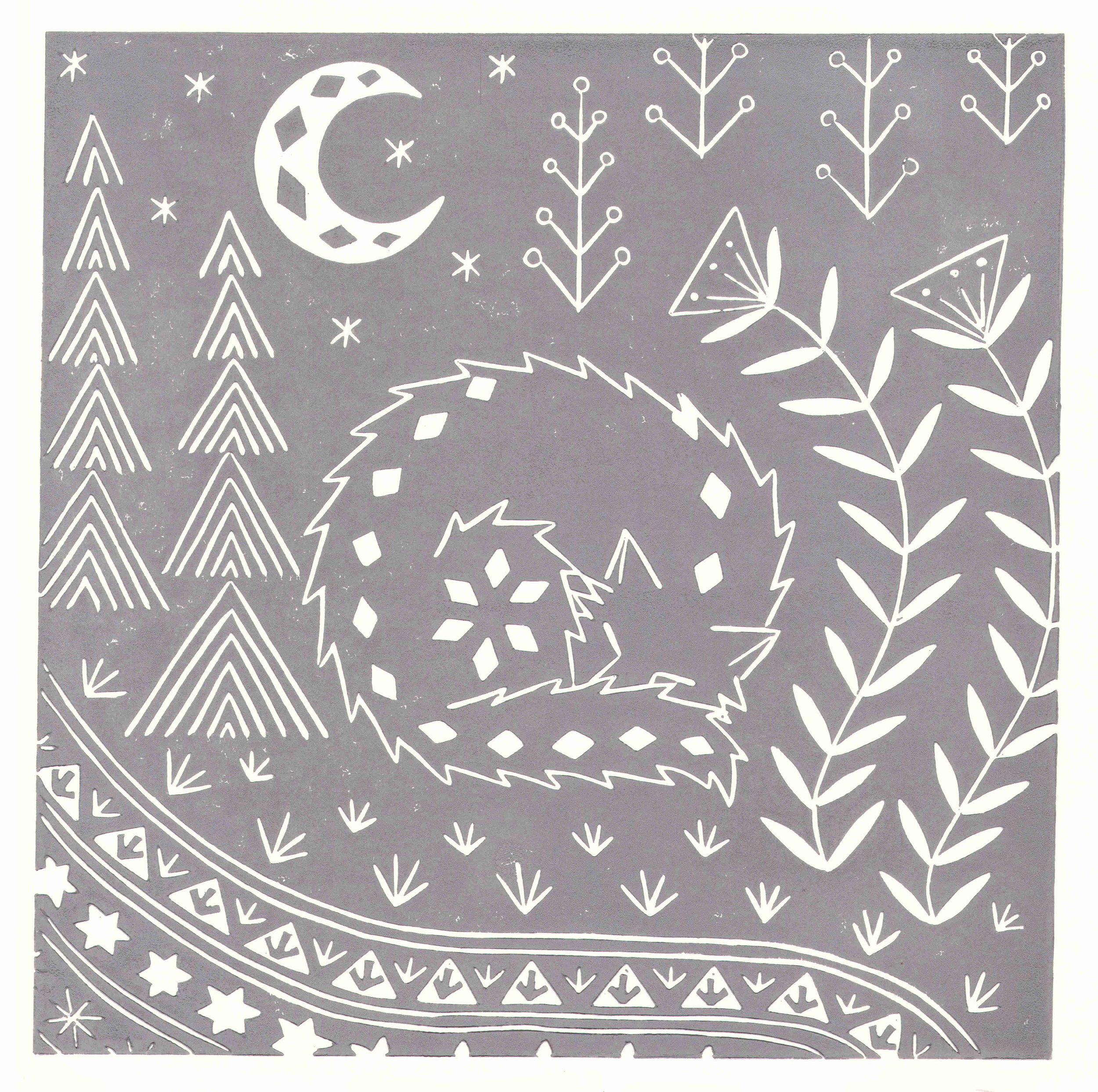 Connor Wolf Grey  linocut  30 x 30 cm  £45