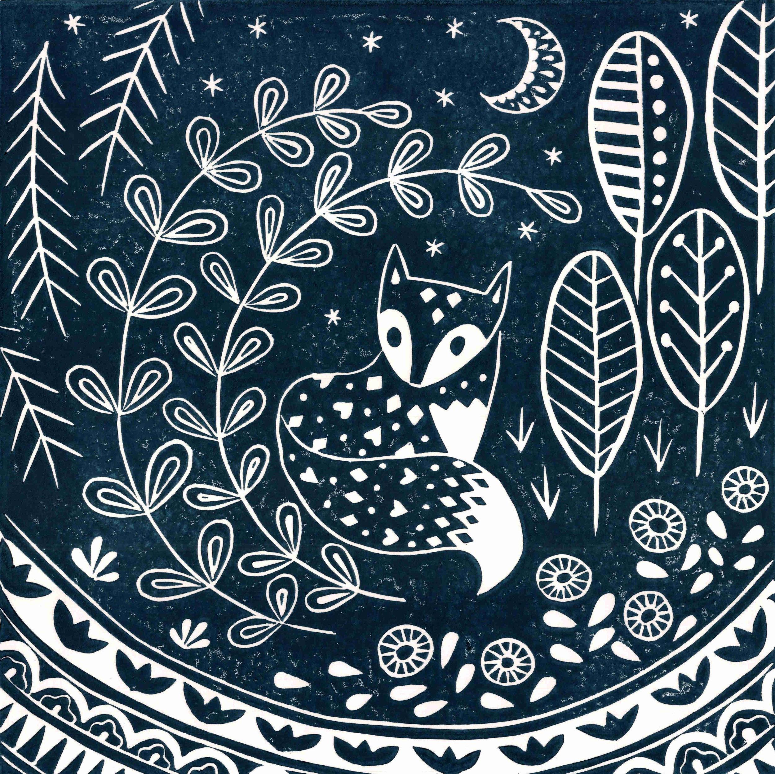 Fox Dark Blue  linocut  30 x 30 cm  £45