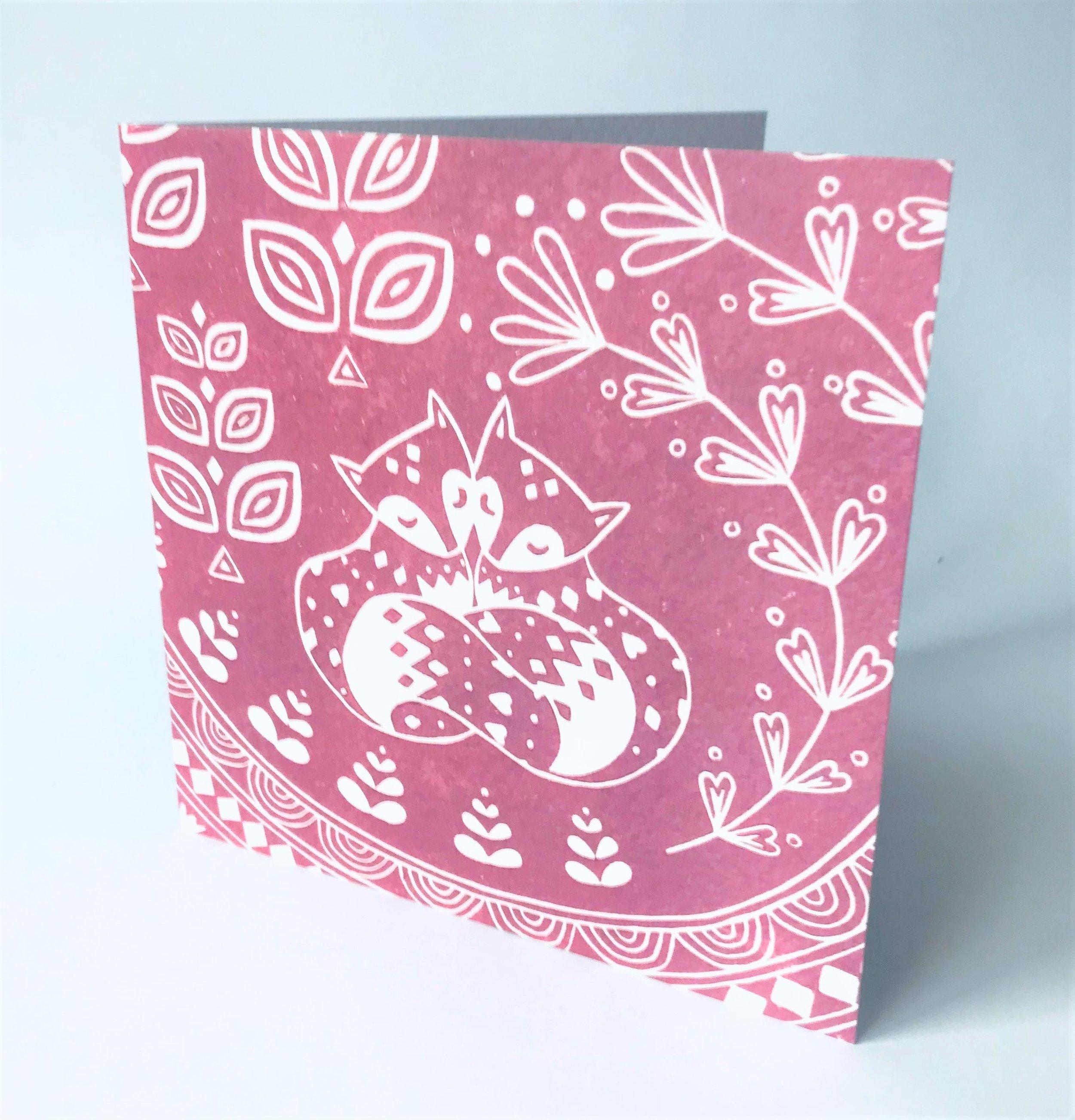 Daniel and Rosie Fox Dusky Pink  Card  15 x 15 cm  £2.50