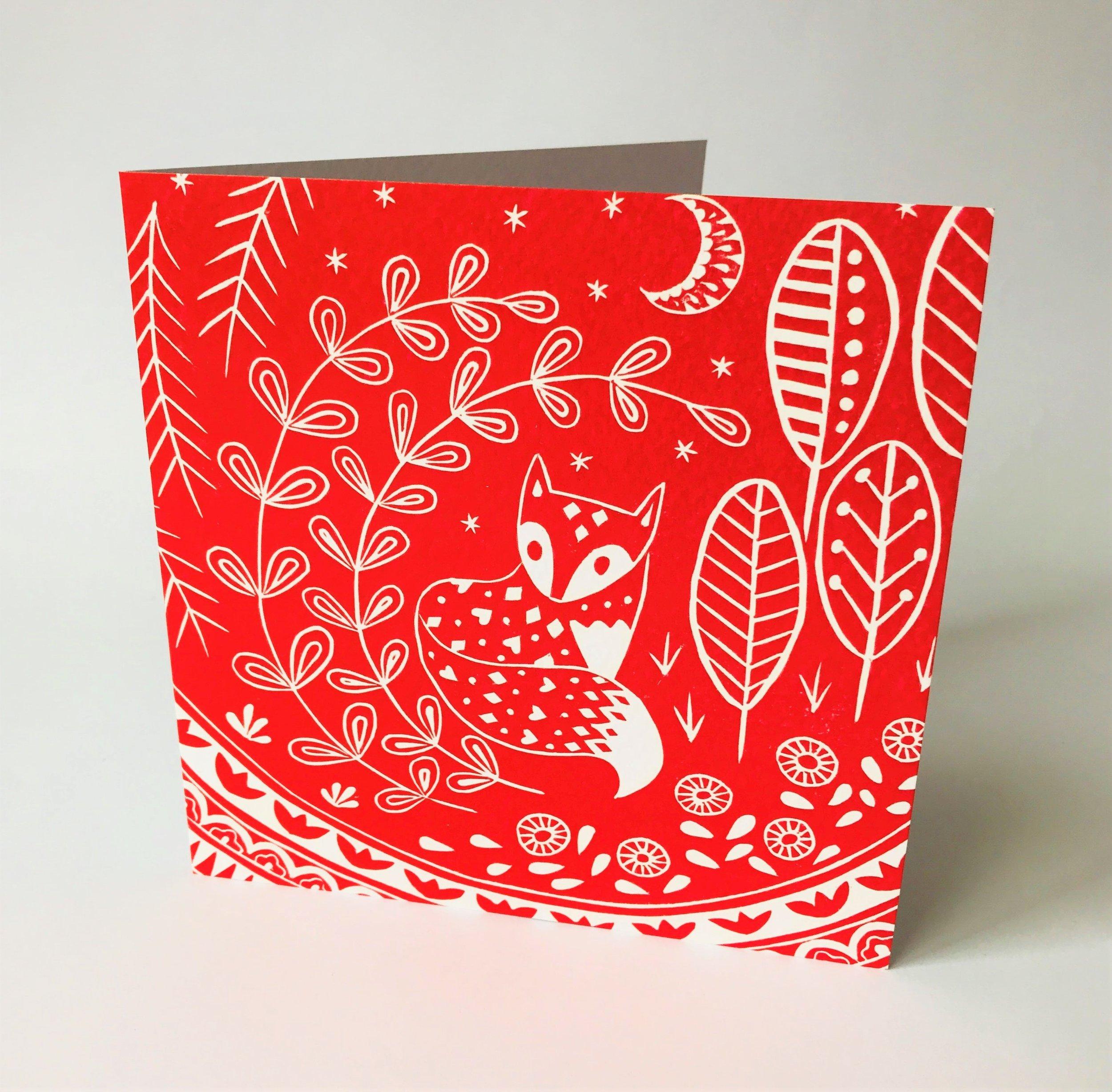 Daniel Fox in Red  Card  15 x 15 cm  £2.50
