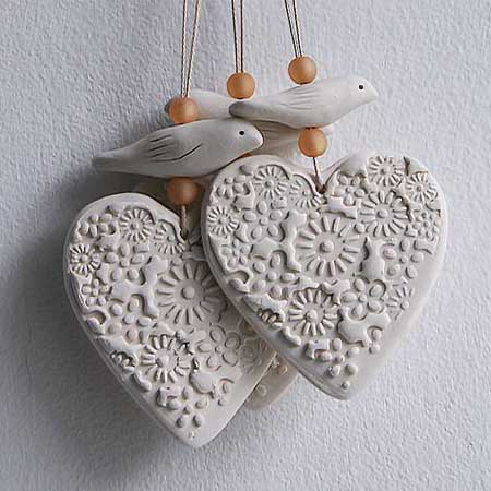 Dove & Heart Hanging  ceramic  £10.00