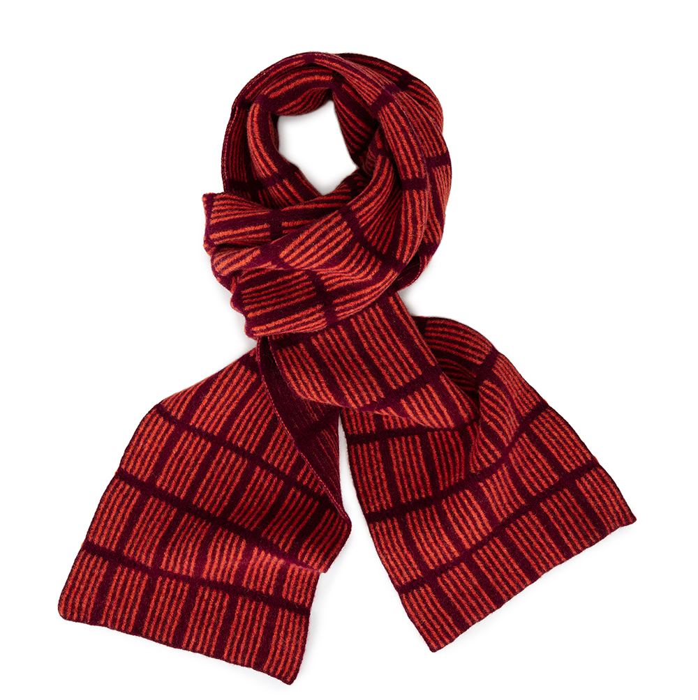 Check Scarf Maroon & Orange  Lambs Wool  £74
