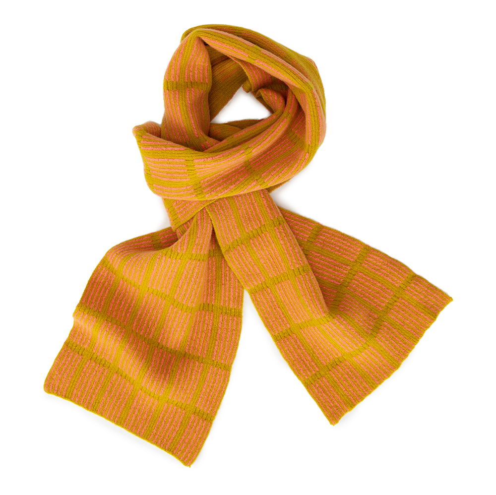 Check Scarf Yellow & Pink  Lambs Wool  £74