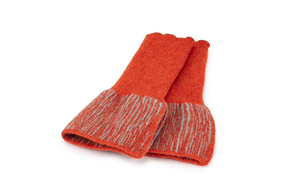 Mitts Orange & Aqua  Lambs Wool  £40