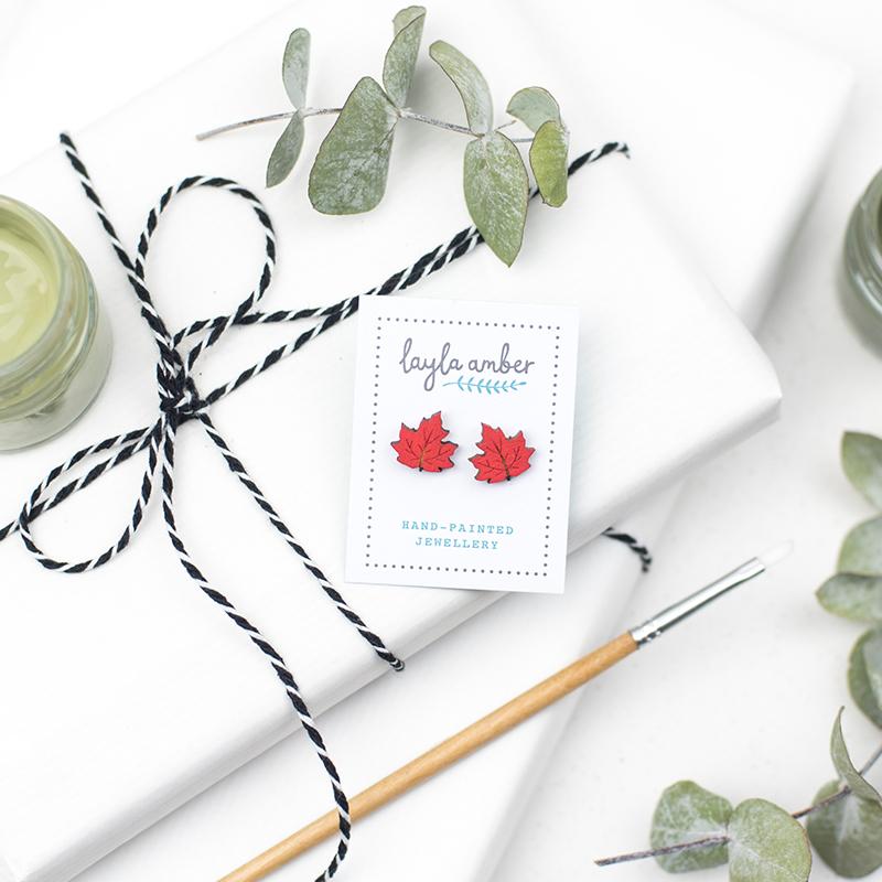 Maple Leaf Earrings  wood  1 x 1 cm  £10