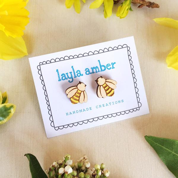 Bumblebee Earrings  wood  1 x 1 cm  £10