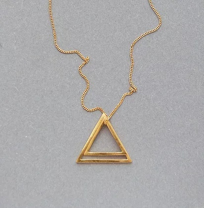 Double Triangle Necklace  23.7ct gold plated sterling silver  2 cm  £75