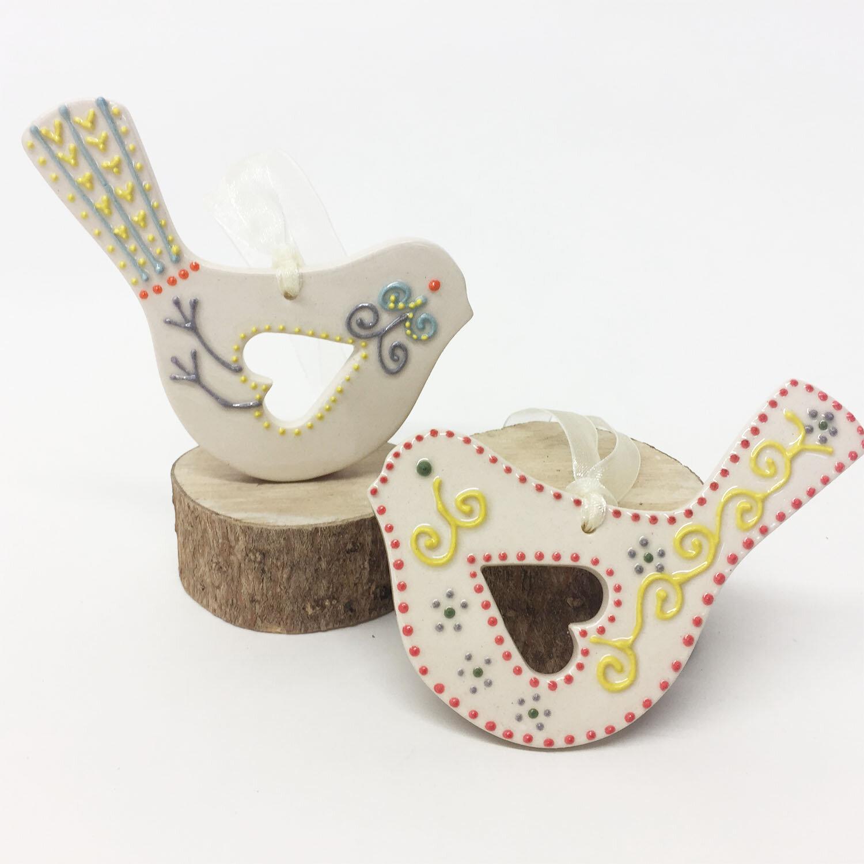 Folk Art Bird  ceramic  10 x 7 cm  £9 each