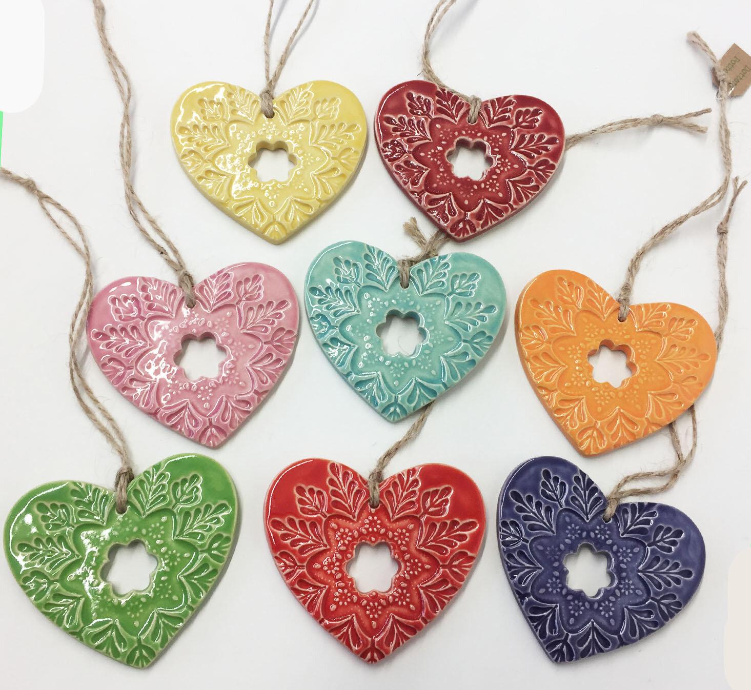 Folk Art Hearts  ceramic  7.5 x 7 cm  £6 each