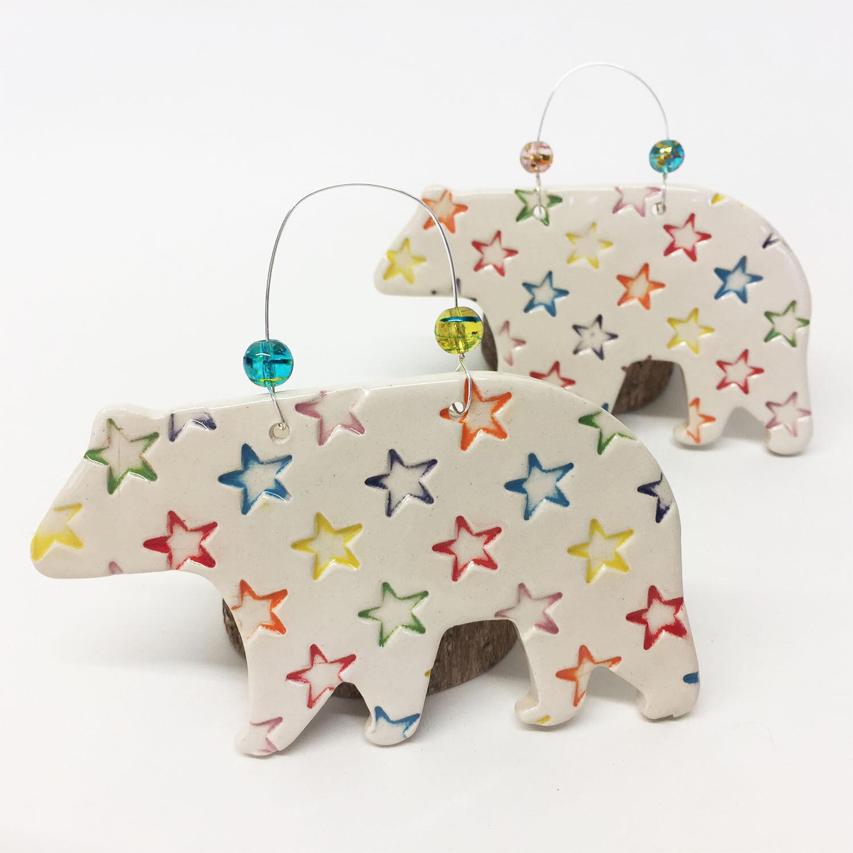 Star Print Polar Bear  ceramic  11 x 6.5  £8 each