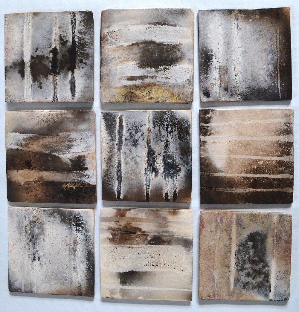 Coasters/ Tiles  ceramic on cork backing  10 x 10 cm  £27 each