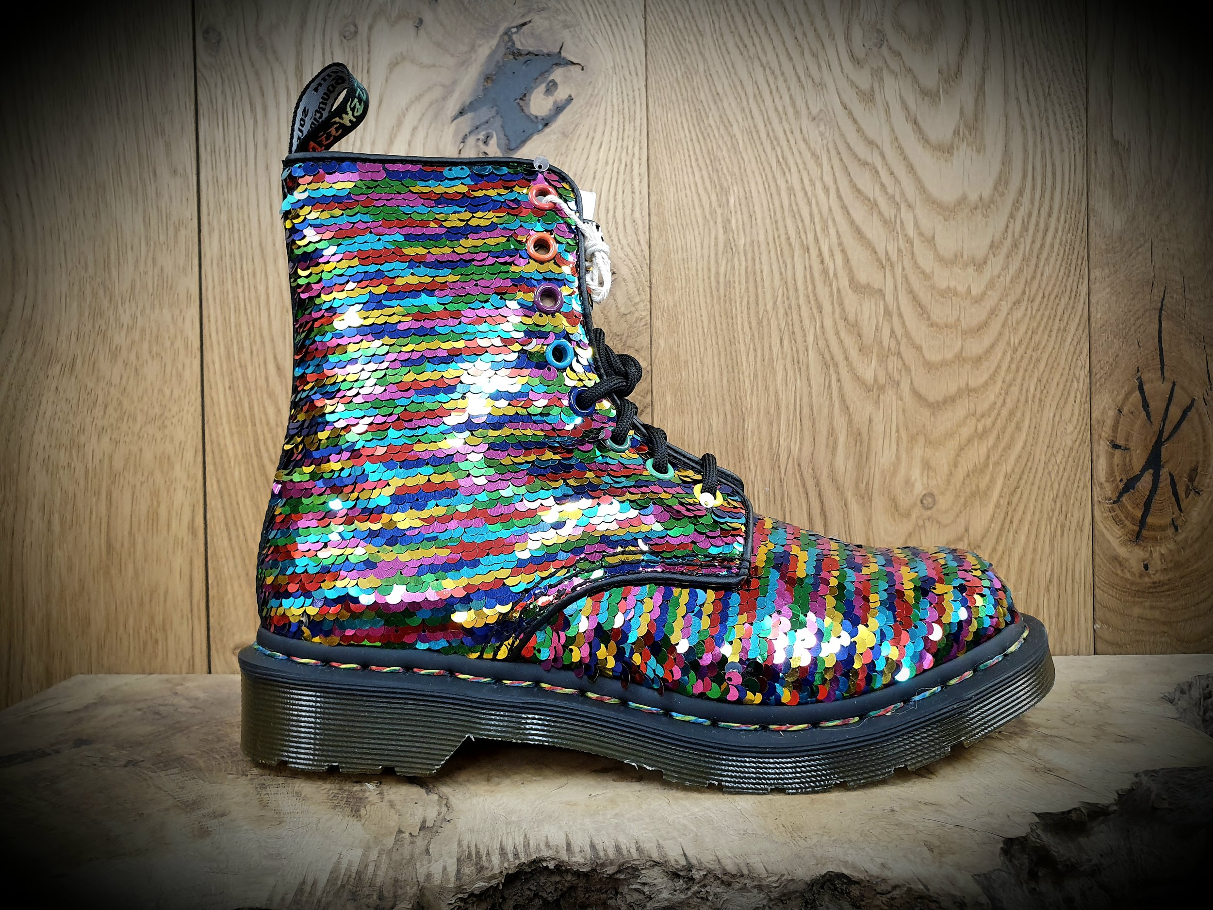 DR MARTENS: Pascal Glitter (Red) — The Whitby Cobbler