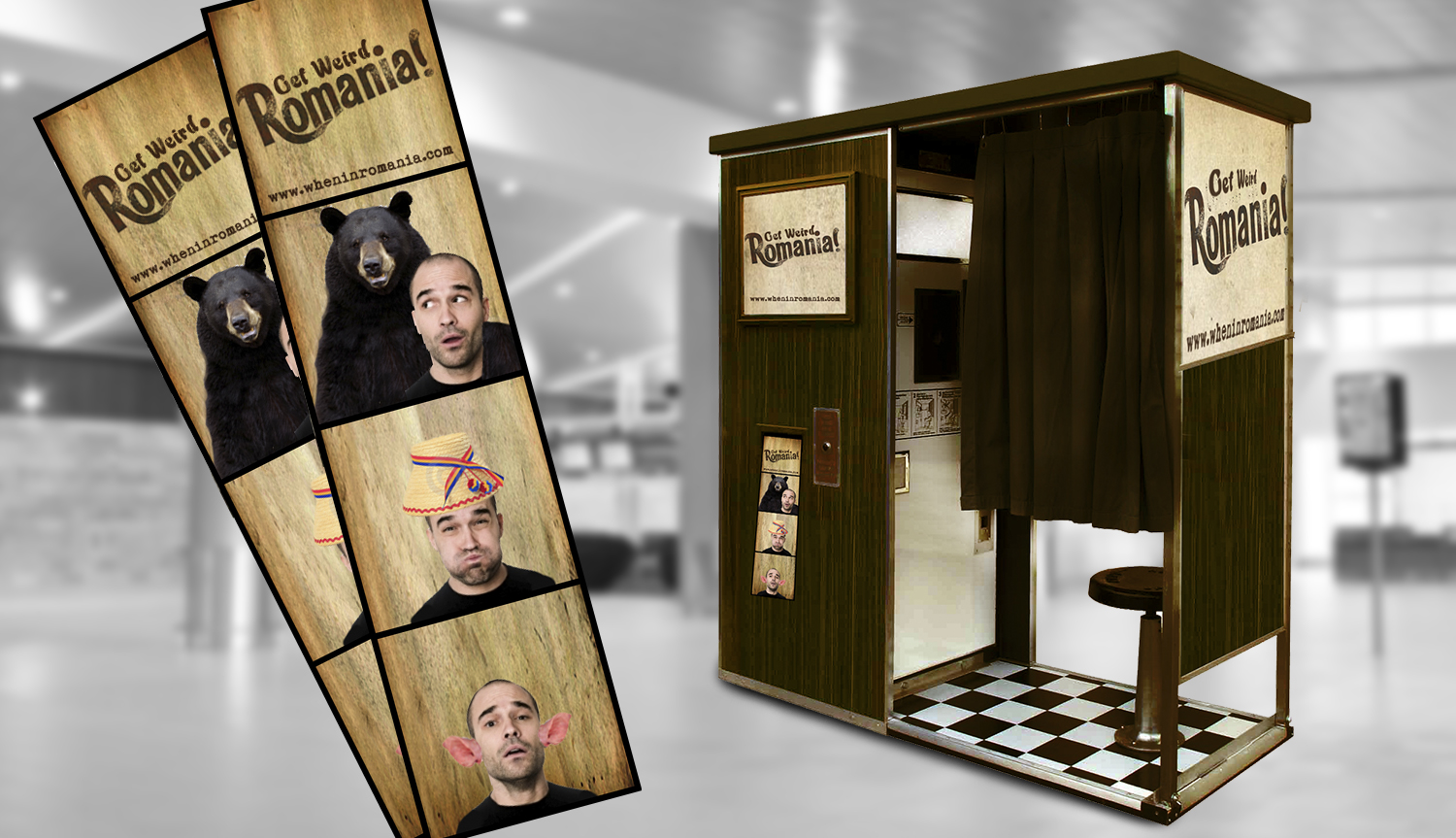 Ambient: Photo booth at airports. The background changes with each picture, depicting something exciting that you can experience in Romania