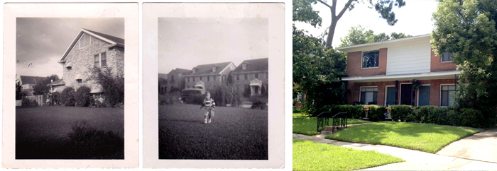 Left: 1828 Marshall as an empty lot with1824 Marshall in the background.  Center: 1828 Marshall as an empty lot with1819 and 1821 Marshall in the background.  Right: 4-plex built in the 1950s on the 1828 Marshall lot by Dick George, still standing today.