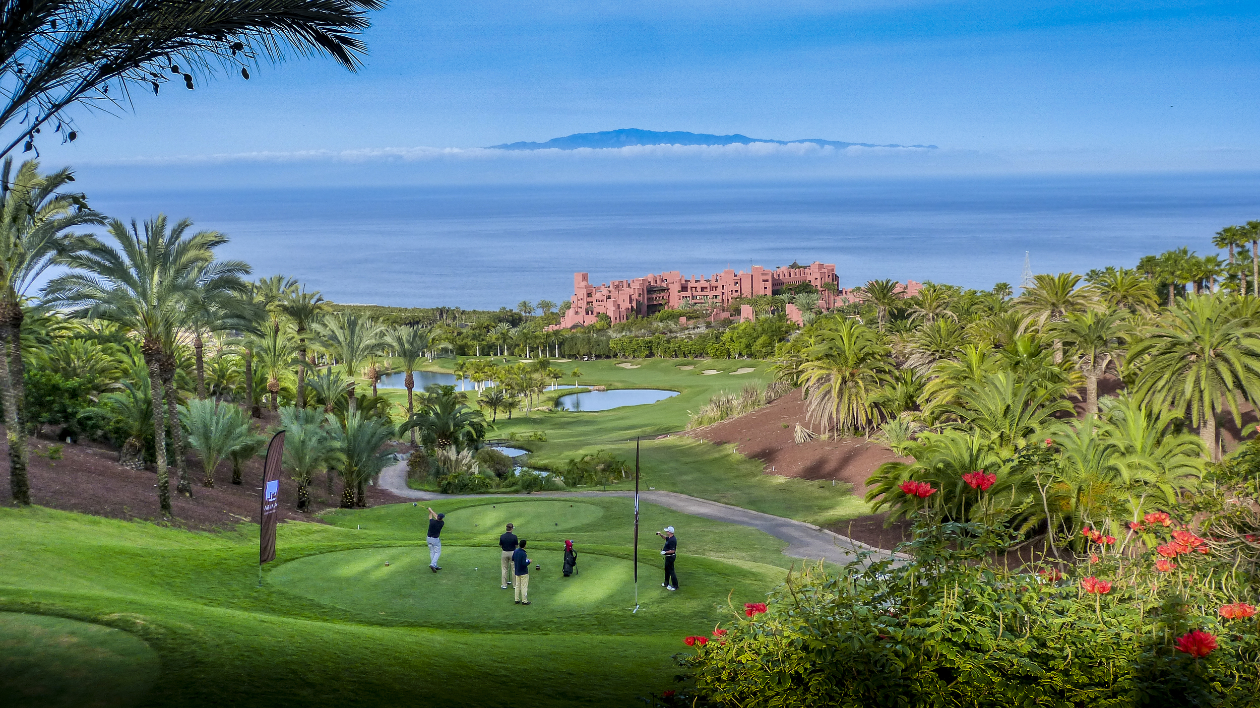 Abama's spectacular 9th looking to La Gomera -David J Whyte © Linksland