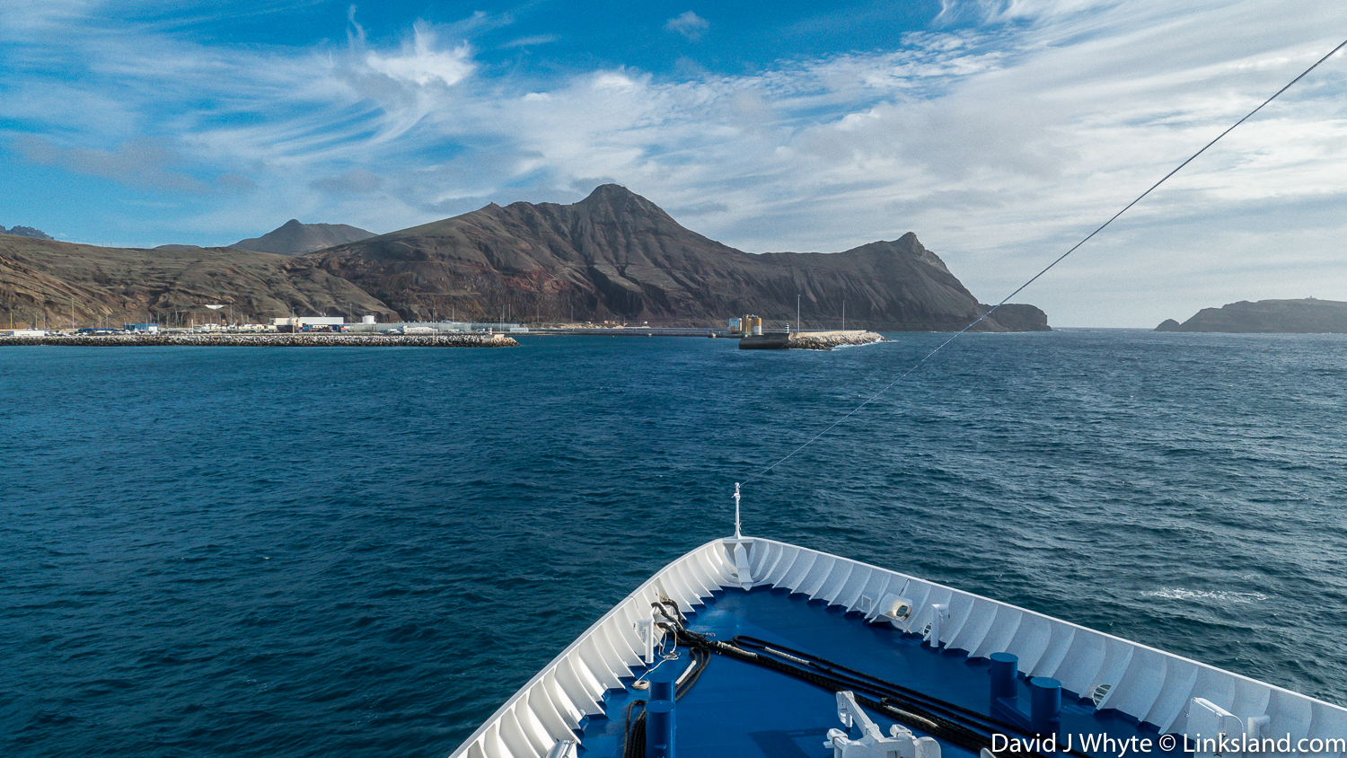 Approaching the harbour and island of Porto Santo.