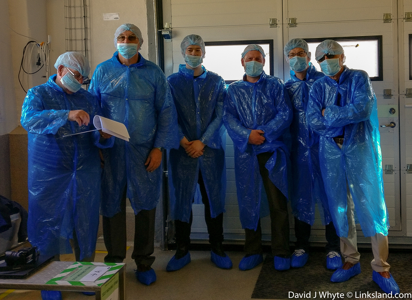Our gang, suitably suited and booted took a tour of the Genis factory. I'm the one on the right - in case you're wondering.