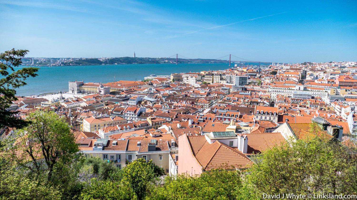 Lisbon's ochre red roofs from Castle S Jorge.