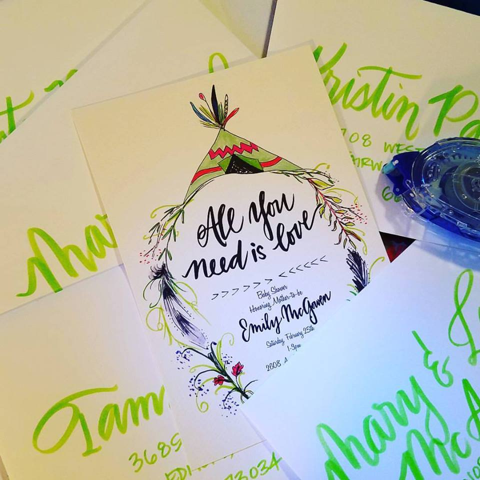 I illustrated the invitation and sent it off to the printer. Yea, maybe, I shouldn't take pictures of my work at 11pm...