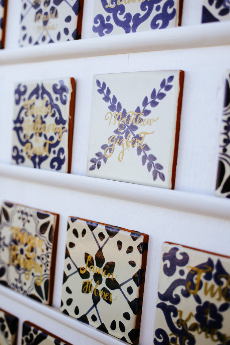 Mexican Themed Wedding || Mexican Tiles with Gold Ink  Photographer: http://www.melissamarshal.com/  Event Planner: http://www.gibsonevents.com/